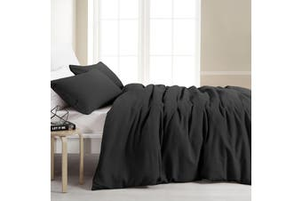 Dreamaker Amber Waffle Quilt Cover Set King Bed Charcoal