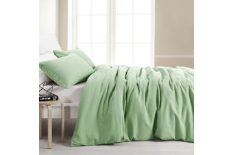 Dreamaker Amber Waffle Quilt Cover Set Queen Bed Lime Green