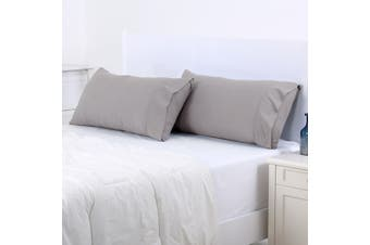 Dreamaker 250TC Plain Dyed King Size Pillowcases - Twin Pack - Oyster