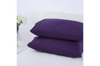 Dreamaker 250TC Plain Dyed Standard Pillowcases - Twin Pack - Plum