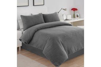 Dreamaker Premium Hazel Quilted Sandwashed Quilt Cover Set King Bed