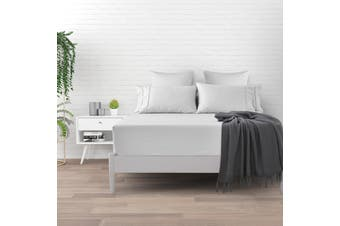 Dreamaker 500 TC Cotton Sateen Fitted Sheet King Single Bed - White
