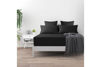 Dreamaker 500 TC Cotton Sateen Fitted Sheet King Single Bed - Charcoal