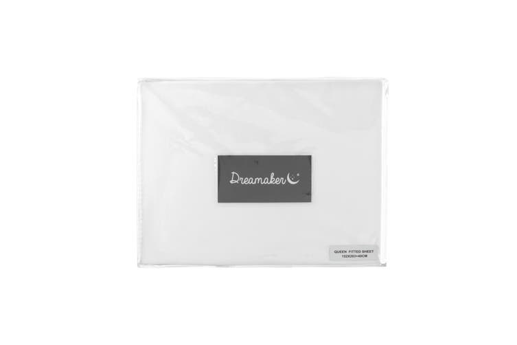 Dreamaker Cotton Sateen 1000TC Fitted Sheet White Queen Bed