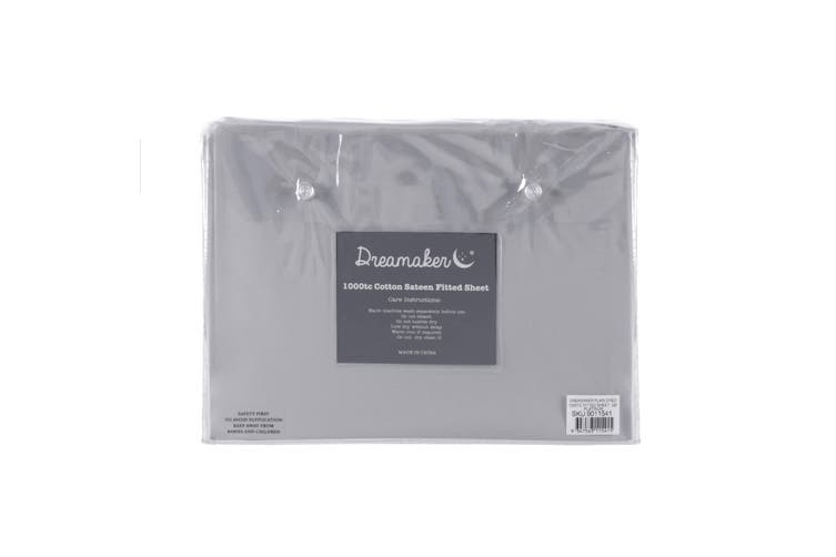 Dreamaker Cotton Sateen 1000TC Fitted Sheet Platinum King Bed