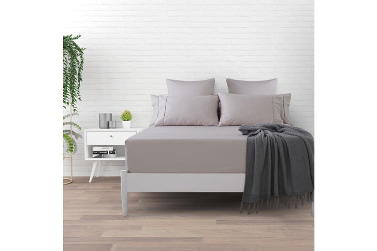 Dreamaker Cotton Sateen 1000TC Fitted Sheet Oyster Queen Bed