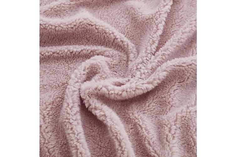 Dreamaker Tedding Fleece Fitted Sheet Set QB - Pink