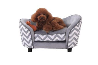 Pet Sofa Dog Cat Puppy Kitten Soft Lounge Couch Velvet Canvas Fabric+Spare Cushion