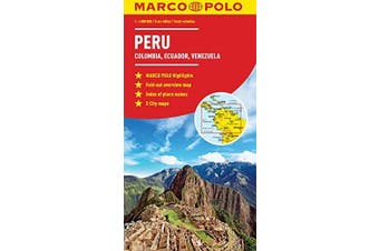 Peru, Colombia, Venezuela South America Marco Polo Map Travel Book Aus Stock