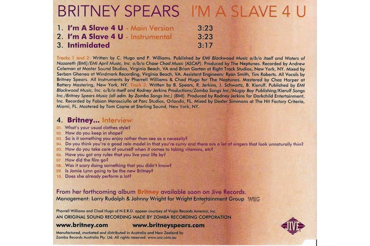 Britney Spears I M A Slave 4 U Pre Owned Cd Disc Excellent Kogan Com