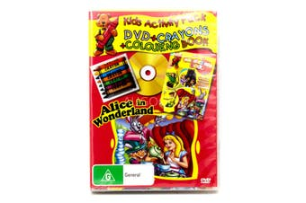 ALICE IN WONDERLAND KIDS ACTIVITY PACK CRAYONS COLOURING BOOK -Kids DVD New