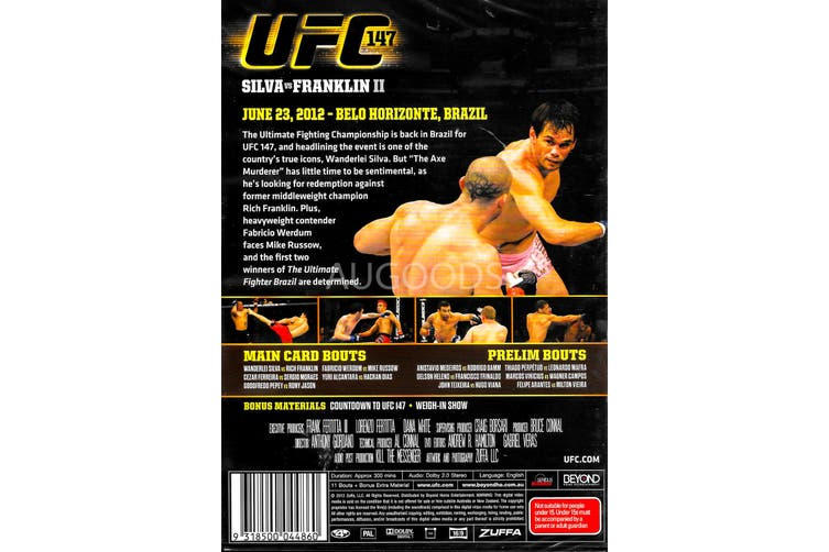 UFC SILVA VS FRANKLIN II - DVD Series Rare Aus Stock New Region 4