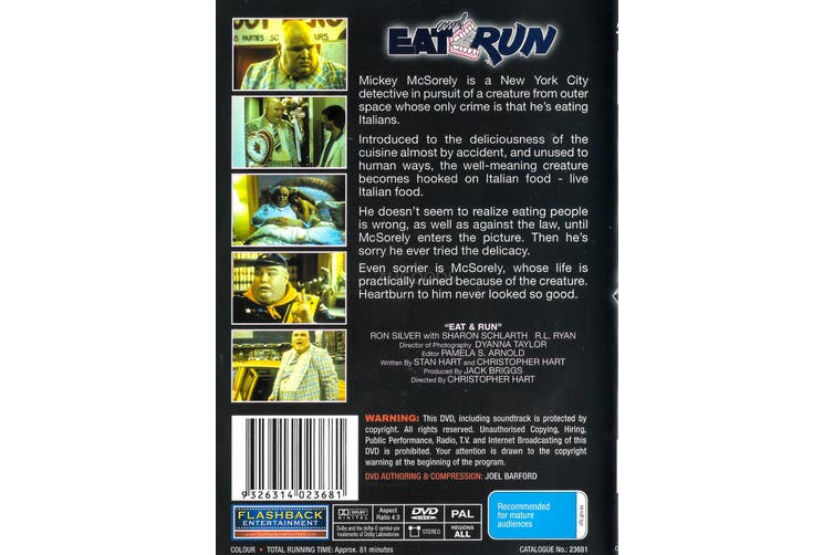 Eat and Run -Rare DVD Aus Stock Comedy New Region ALL