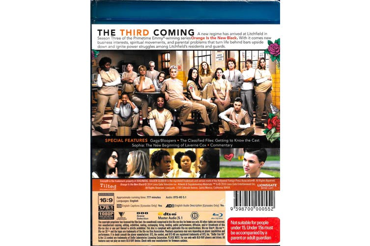 Orange is the New Black Season 3 -Blu-Ray Comedy Series Rare Aus Stock New