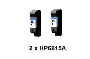 2x HP 15 BLACK INK GENUINE ORIGINAL CARTRIDGE- NEW C6615DA Deskjet Officejet PSC