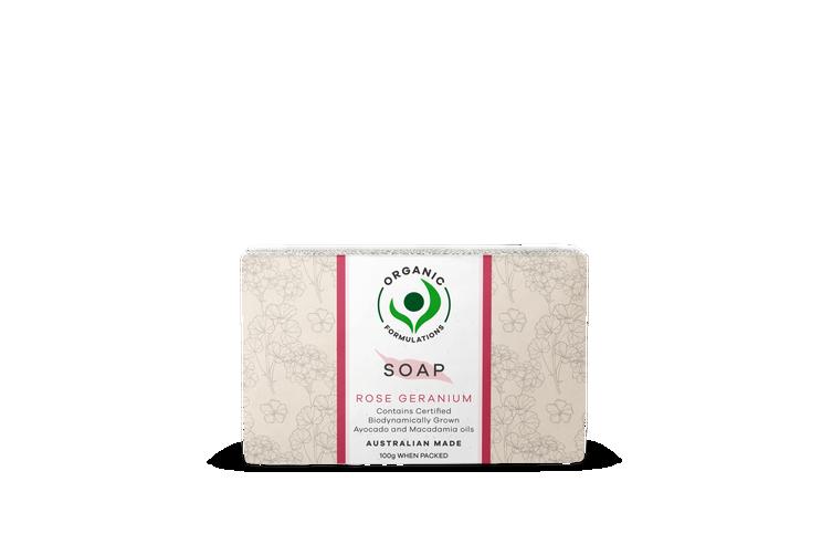 Organic Formulations Rose Geranium Soap 100gm | Certified Organic