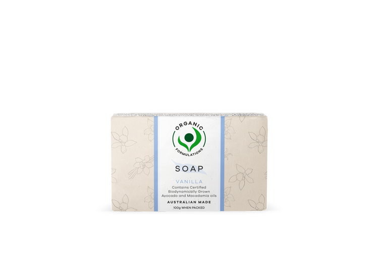 Organic Formulations Vanilla Soap 100gm | Certified Organic, Australian Made