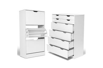 6 Chest Drawer Shoe Cabinet Set Bedroom Tallboy Rack Storage Rack White