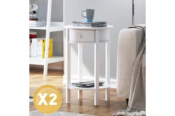 2 x Lamp Side Table White Sofa Display Shelf Roun Bedside Table