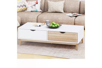 2 Drawers Modern Coffee Table White Oak Storage Interior Living Room Furnitre