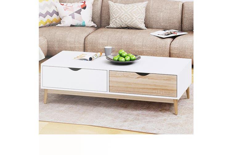 Modern Coffee Table 2 Drawers White Oak Storage Shelf Scandinavian Living Room