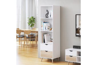 New Bookshelf 2 Drawers Display Shelf White CD DVD Storage Cabinet Rack Bookcase
