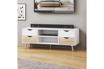 TV Cabinet Stand Entertainment Unit 120cm 4 Drawer Storage Shelf Sideboard White