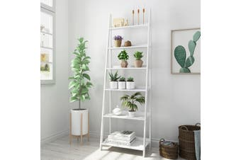 6 Tier Display Ladder Shelf Bookcase Wooden Shelving Storage Stand Rack White