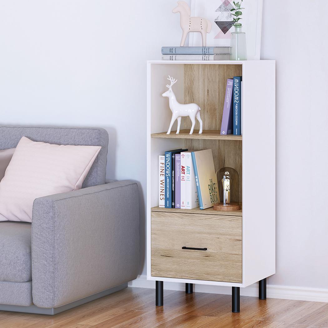 Image of: Bookcase 2 Tier Display Storage Shelf Rack Low Wooden 1 Drawer Cabinet Oak White Matt Blatt
