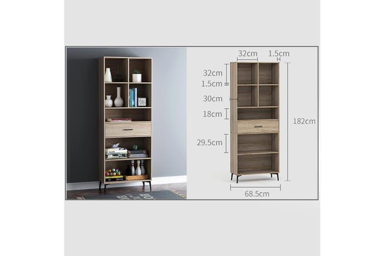 Wooden Bookcase Oak 5 Tier Display Shelving Cupboard Book CD DVD Storage Unit