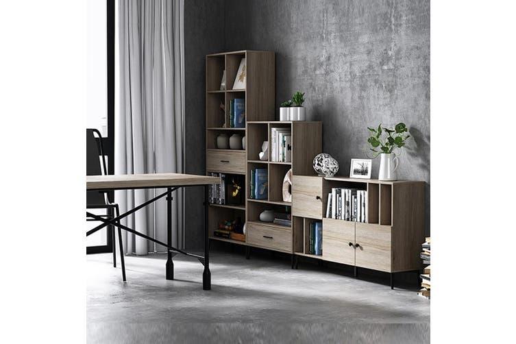 Wooden Bookcase Oak 3 Tier Display Shelving Cupboard Book CD DVD Storage Unit