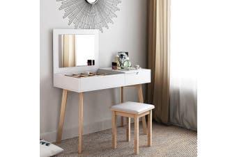 Modern Dresser Table Chair Set Folding Mirror Dressing Makeup Desk White Bedroom
