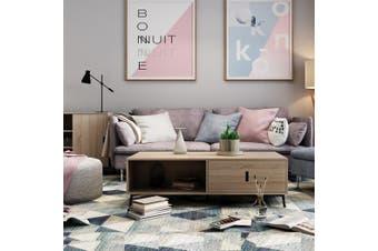 New 120cm Coffee Tea Table Oak Modern Drawer Storage Living Room Furniture