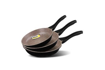 K2 3pc Ceramic Stone Deep Frying Pan Frypans Cookware Induction Non Stick Pan