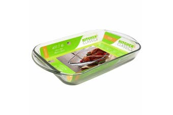 New Kitchen Classics Glass Baking Dish Plate 4L Oven Safe Rectangular