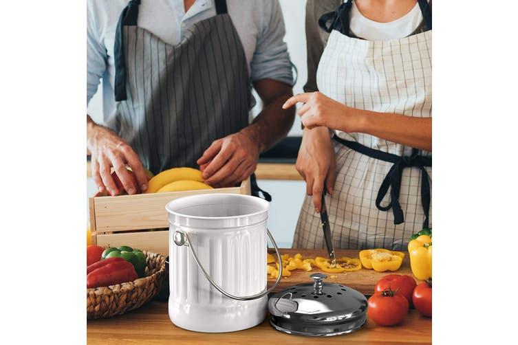 Kitchen 5L Compost Bin Canister Garbage Tin Bucket Set Retro Garden Waste White