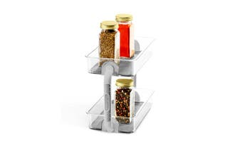 Madesmart Clear 2 Tier Spice Organiser Kitchen Storage Jar Bottle Holder Rack