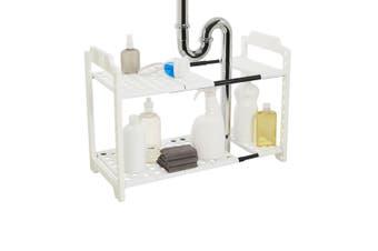 Madesmart Expandable Under Sink Storage Shelf Holder Rack Organizer White