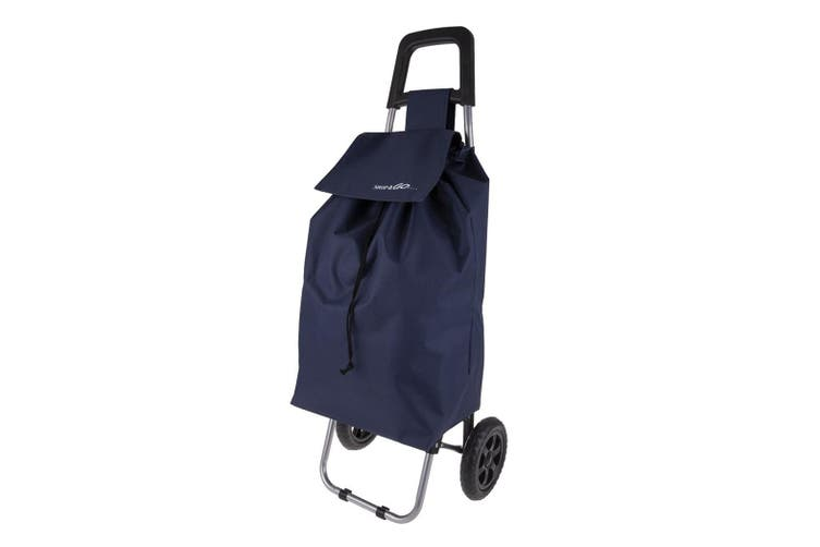 Shop & Go Clio Shopping Trolley Cart Foldable Basket Carry Wheels Navy