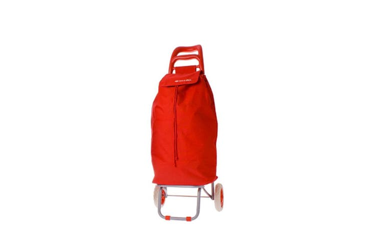 Shop & Go Mode Shopping Trolley Cart Foldable Basket Carry Wheels Red
