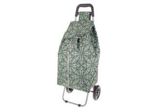 Shop & Go Sprint Shopping Trolley Cart Foldable Basket w/ Wheels Bohemian Green
