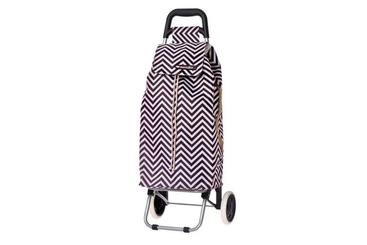 Shop & Go Sprint Shopping Trolley Cart Foldable Basket w/ Wheels Chevron Stripe