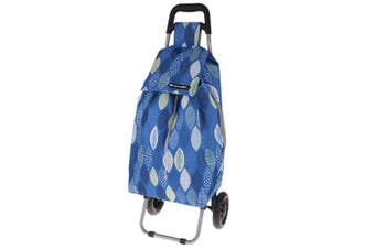 Shop & Go Sprint Shopping Trolley Cart Foldable Basket w/ Wheels Graphic Leaves