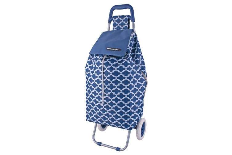 Shop & Go Sprint Shopping Trolley Cart Foldable Basket w/ Wheels Moroccan Navy