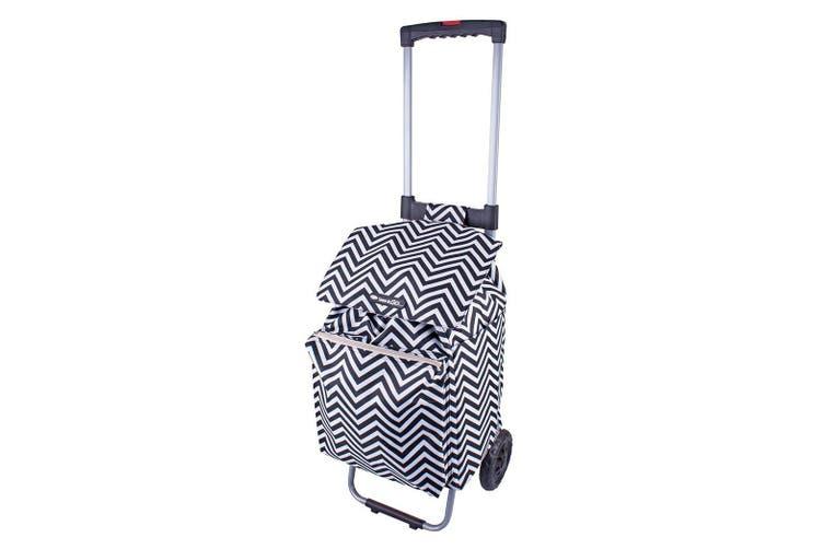 Shop & Go Polo Shopping Trolley Cart Retractable Handle Chevron  Stripe