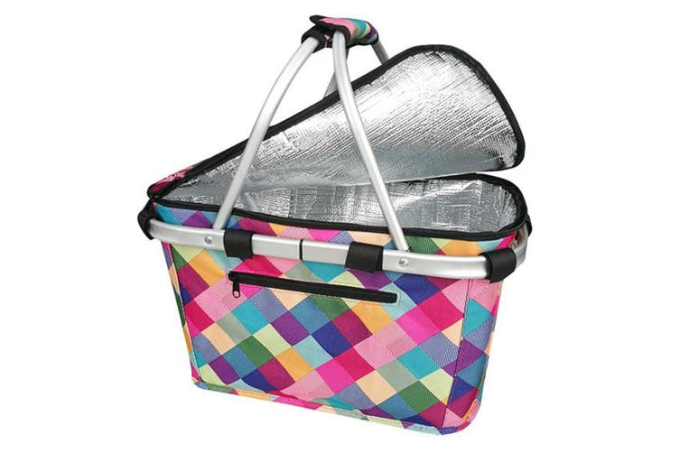 New Sachi Shop & Go Insulated Thermal Cooler Carry Basket W/Lid Harlequin