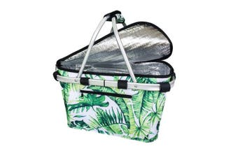 Sachi Insulated Carry Basket with Lid Jungle Leaf