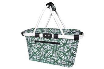 Sachi Carry Shopping Picnic Camping Basket Collapsible Tote Bohemian Green