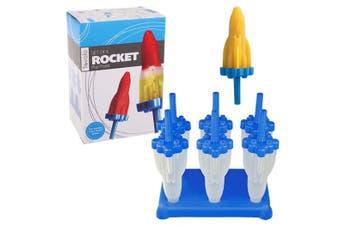 Tovolo Rocket Frozen Ice Pop Maker w/ Stick Popsicle Molds Easy Release Blue