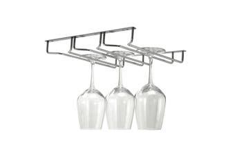 Bartender Triple Row Glass Stemware Rack 28cm Hanger Chrome Wine Glass Holder